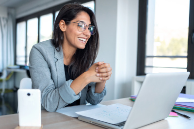 Woman at a virtual conference.